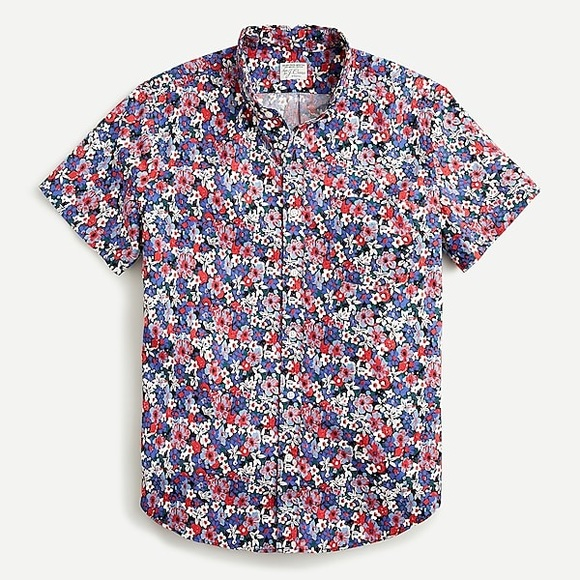 J. Crew Slim Short Sleeve Cotton Poplin Shirt L